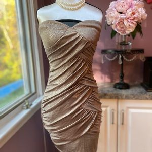 Gold Champagne Cocktail Evening Dress - Size S